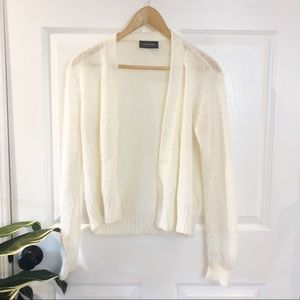 Wooden Ships | White Mohair Open Cardigan Sweater
